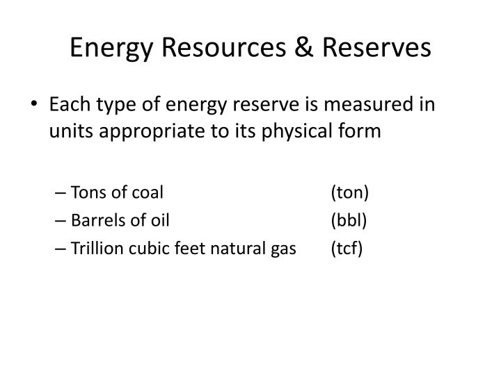 Energy Resources & Reserves