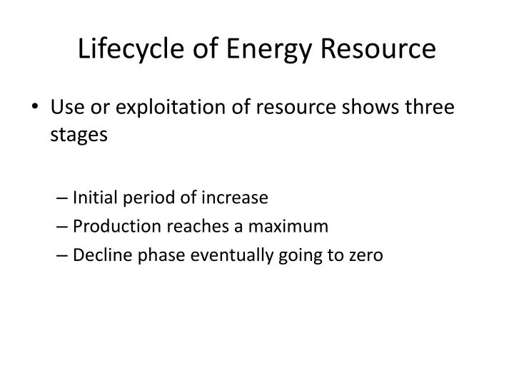 Lifecycle of Energy Resource