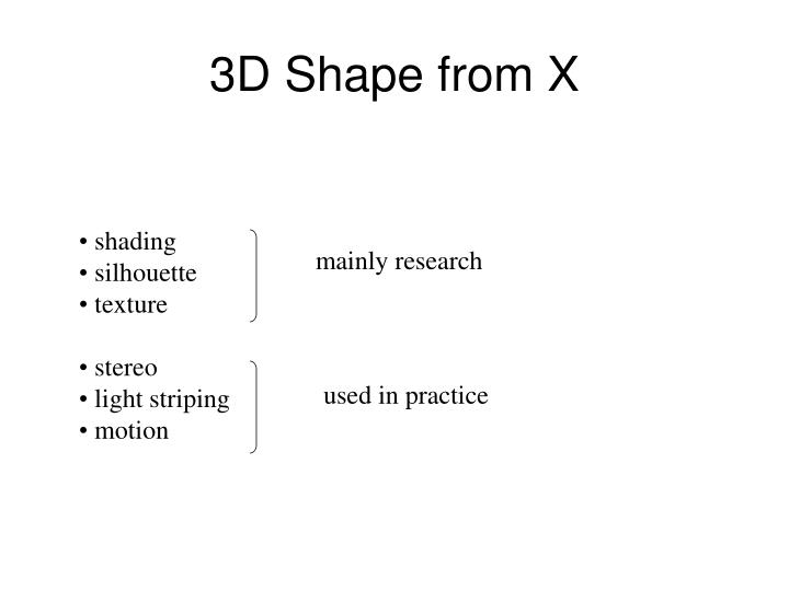 3D Shape from X