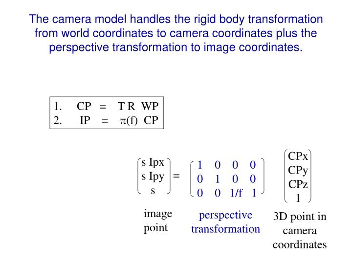 The camera model handles the rigid body transformation from world coordinates to camera coordinates plus the perspective transformation to image coordinates.