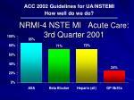 nrmi 4 nste mi acute care 3rd quarter 2001