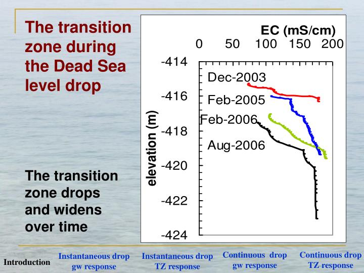 The transition zone during the Dead Sea level drop