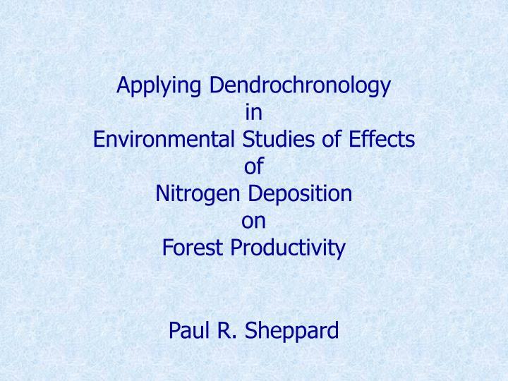 Applying Dendrochronology
