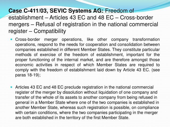 eu economic law freedom of establishment