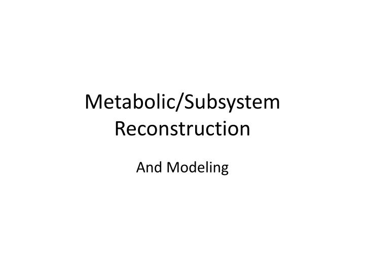 metabolic subsystem reconstruction n.