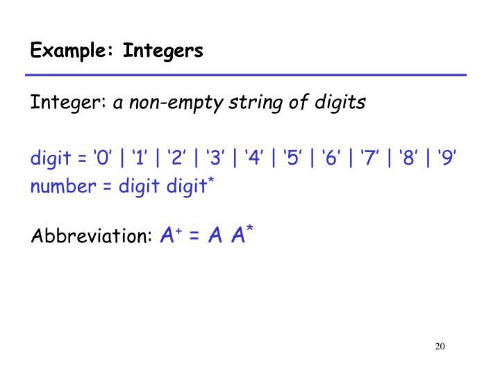 Example: Integers