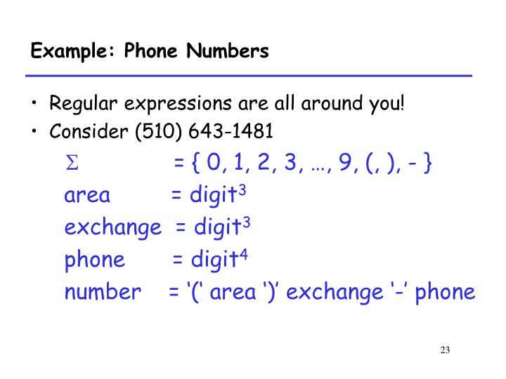 Example: Phone Numbers