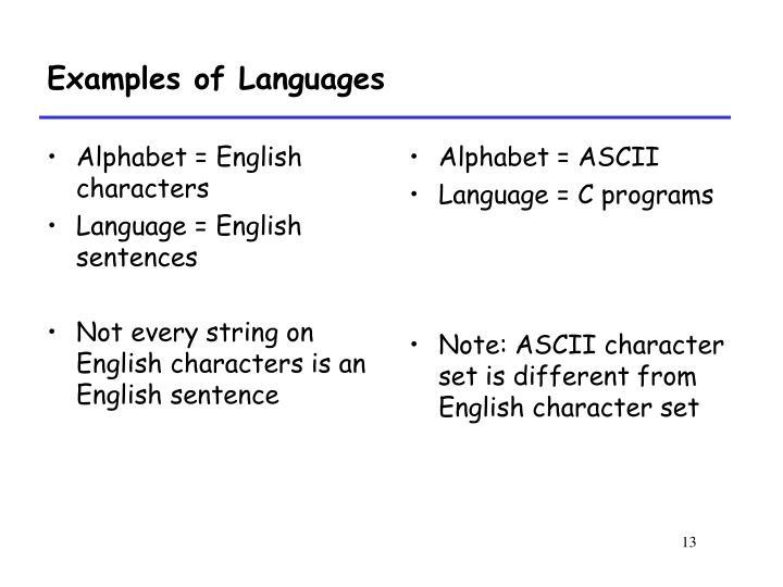 Alphabet = English characters
