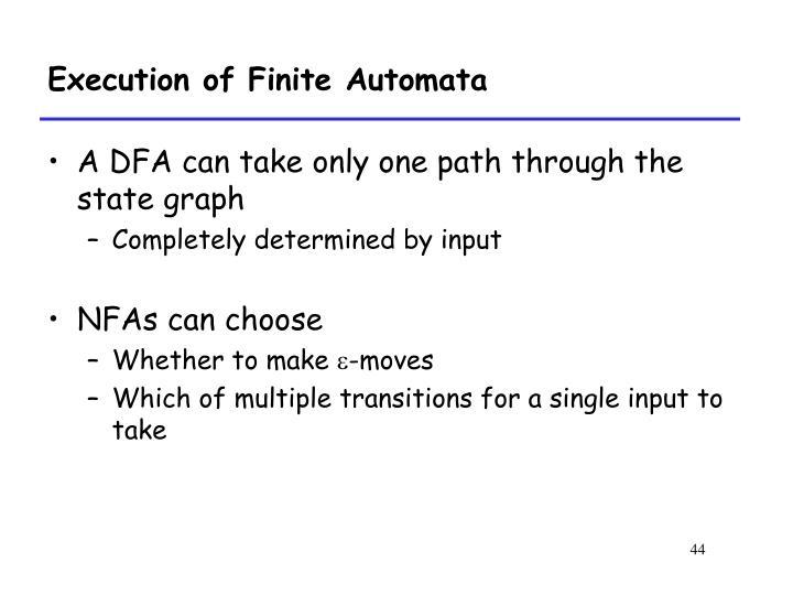 Execution of Finite Automata