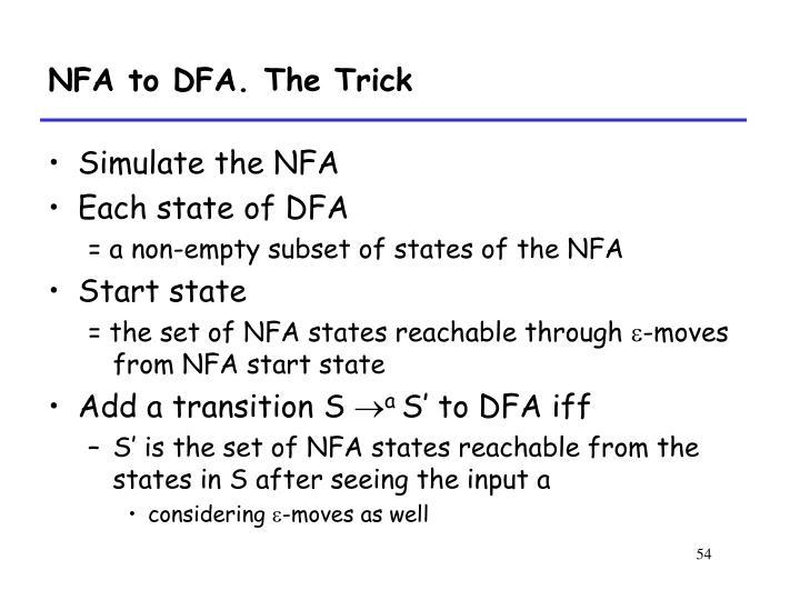 NFA to DFA. The Trick
