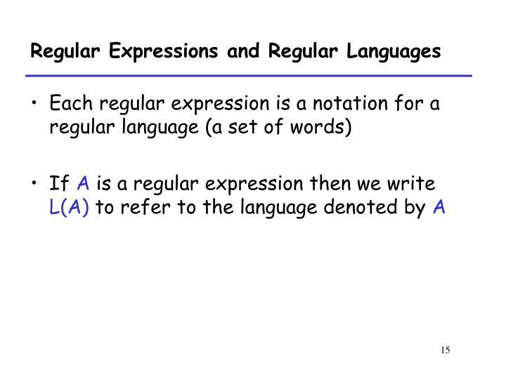 Regular Expressions and Regular Languages