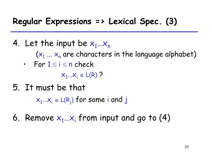 Regular Expressions => Lexical Spec. (3)