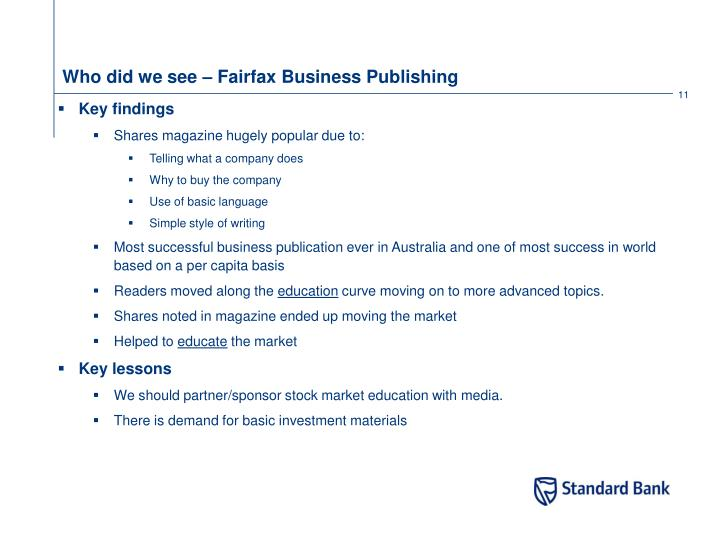 Who did we see – Fairfax Business Publishing