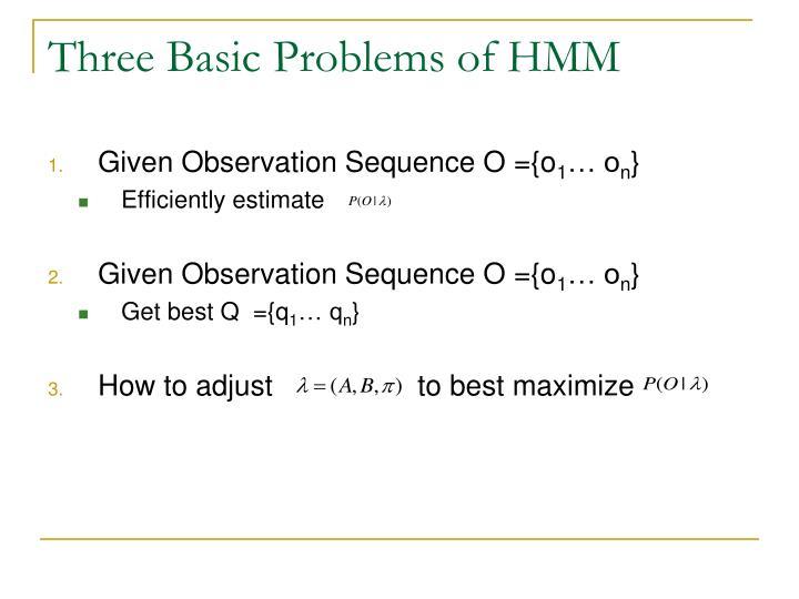 Three Basic Problems of HMM
