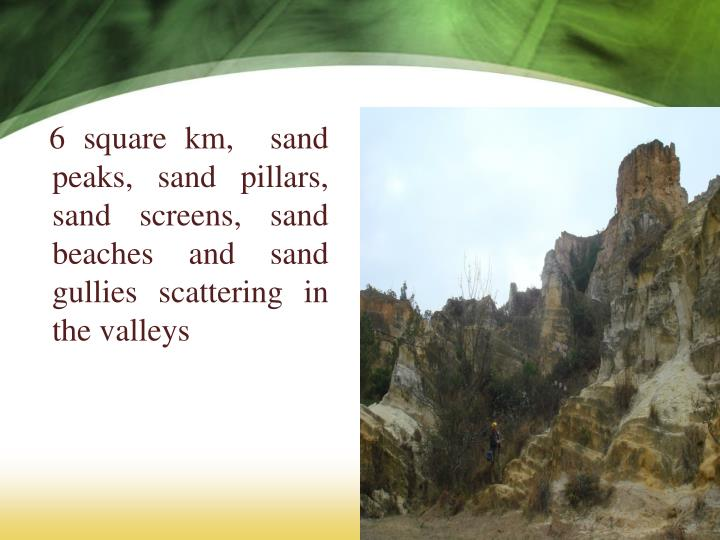 6 square km,  sand peaks, sand pillars, sand screens, sand beaches and sand gullies scattering in the valleys