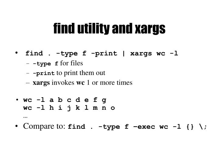 find utility and xargs