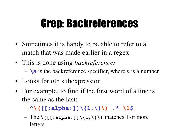 Grep: Backreferences