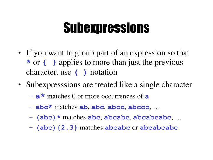 Subexpressions