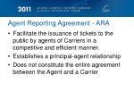 agent reporting agreement ara