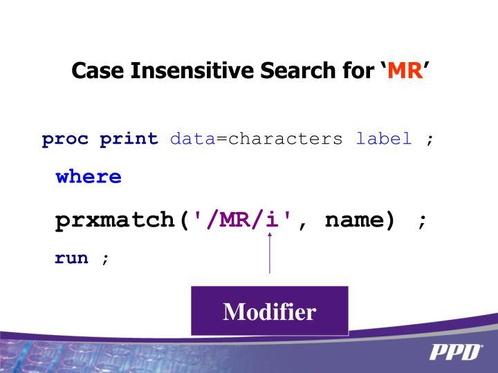 Case Insensitive Search for '
