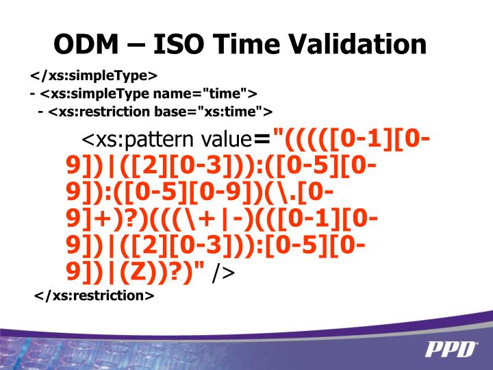 ODM – ISO Time Validation
