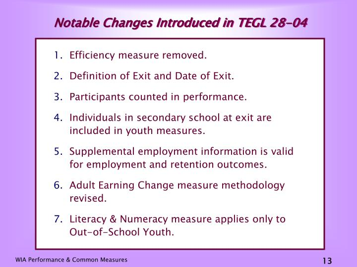 Notable Changes Introduced in TEGL 28-04