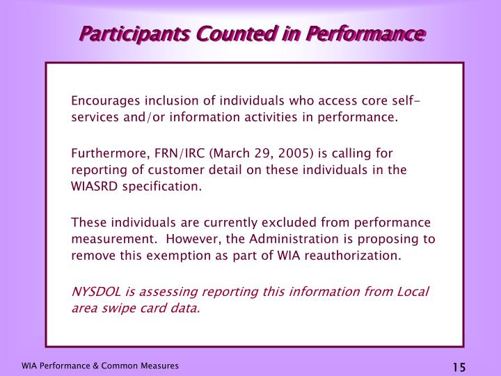 Participants Counted in Performance