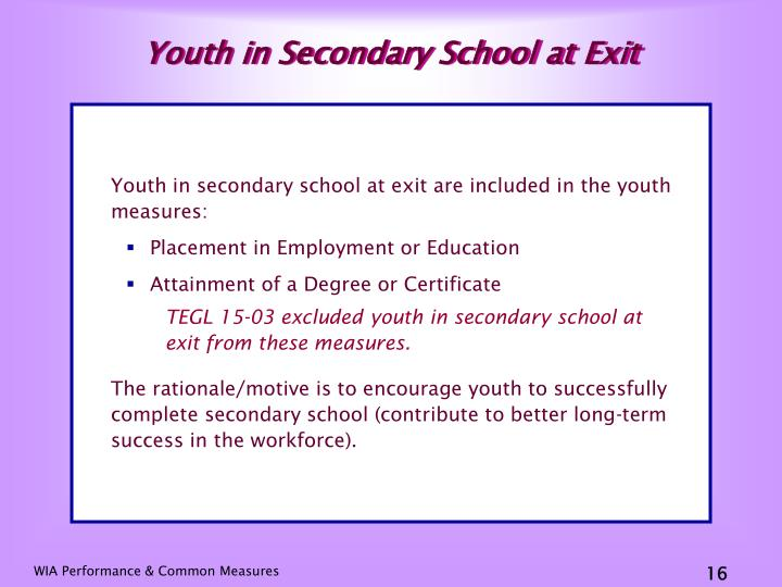 Youth in Secondary School at Exit