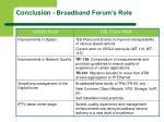 conclusion broadband forum s role