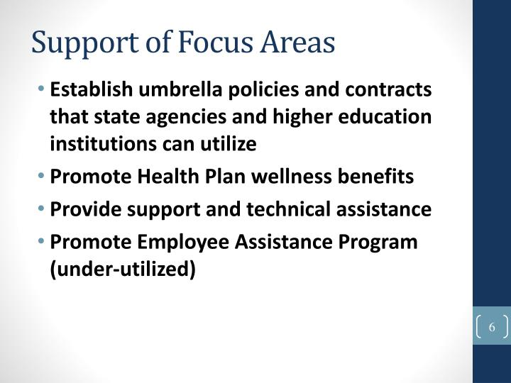 Support of Focus Areas