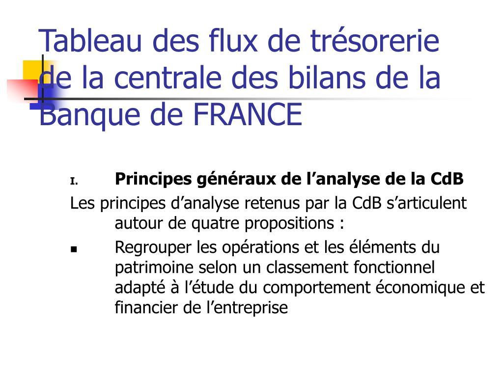 Ppt Tableau Des Flux De Tresorerie De La Centrale Des Bilans De La Banque De France Powerpoint Presentation Id 3271392