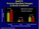 safety protocol specified changes in serum creatinine