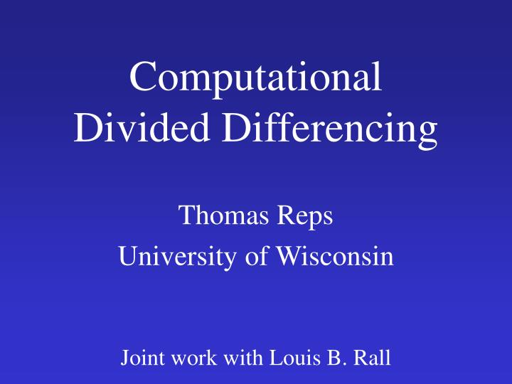 computational divided differencing n.