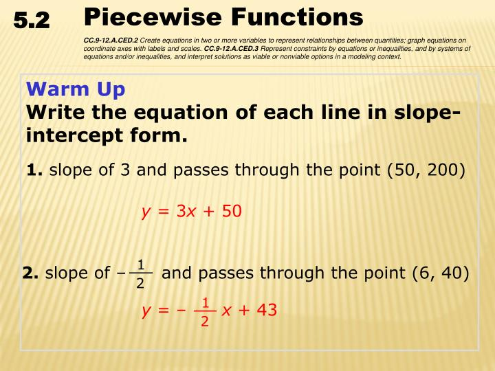 Ppt Warm Up Write The Equation Of Each Line In Slope Intercept