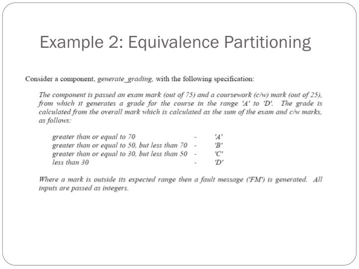 Example 2: Equivalence Partitioning