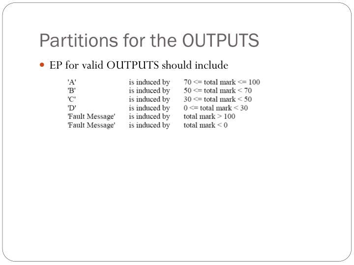 Partitions for the OUTPUTS
