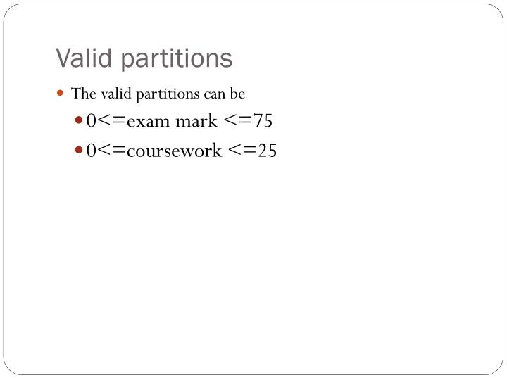 Valid partitions