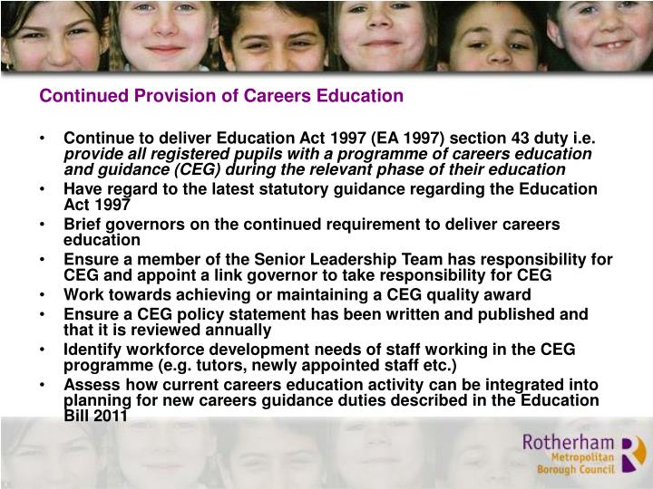 Continued Provision of Careers Education