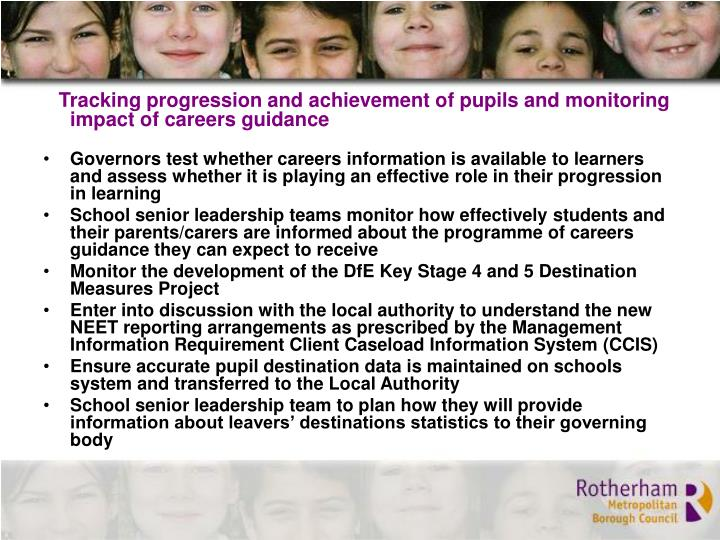 Tracking progression and achievement of pupils and monitoring impact of careers guidance