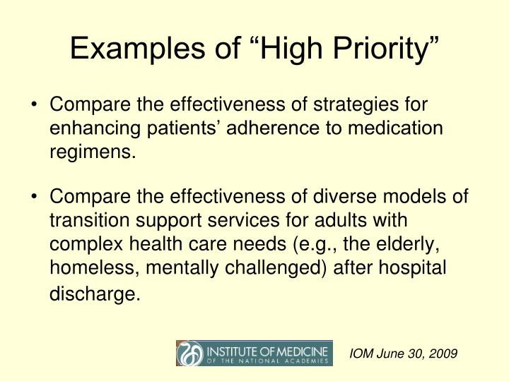 "Examples of ""High Priority"""