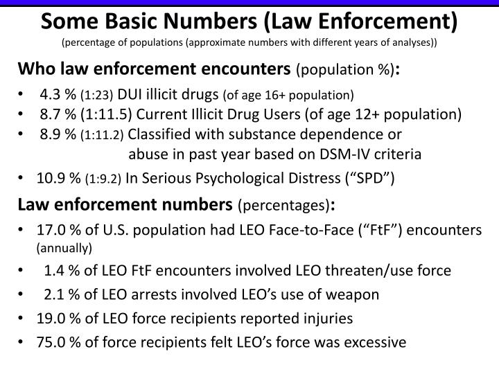 Some Basic Numbers (Law Enforcement)