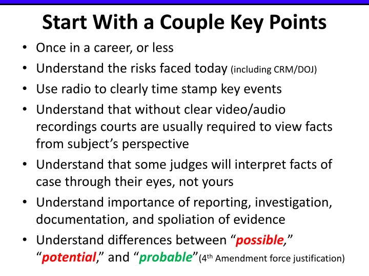 Start With a Couple Key Points