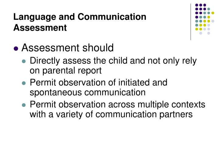 Language and Communication Assessment