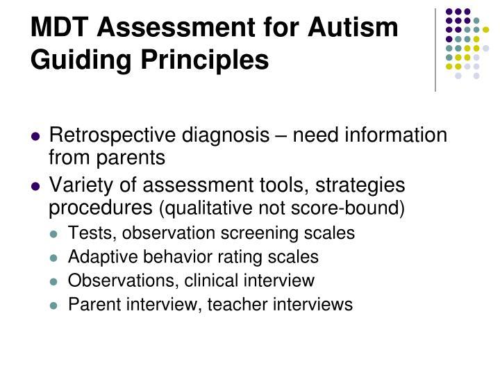 MDT Assessment for Autism