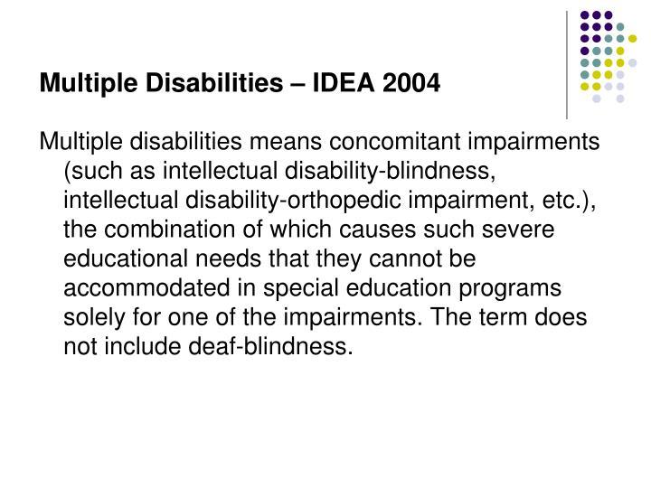 Multiple Disabilities – IDEA 2004