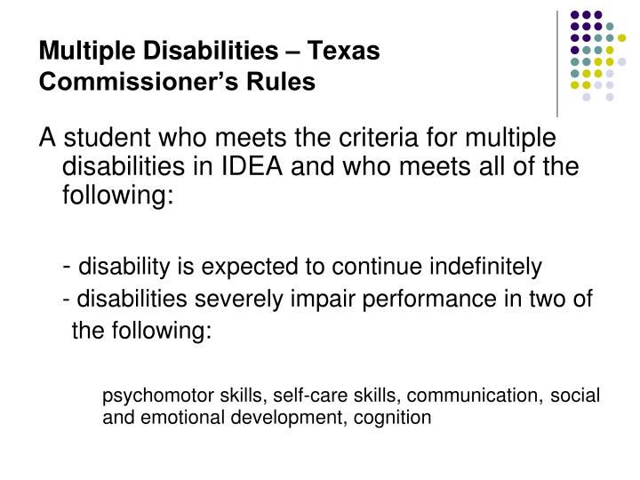 Multiple Disabilities – Texas Commissioner's Rules