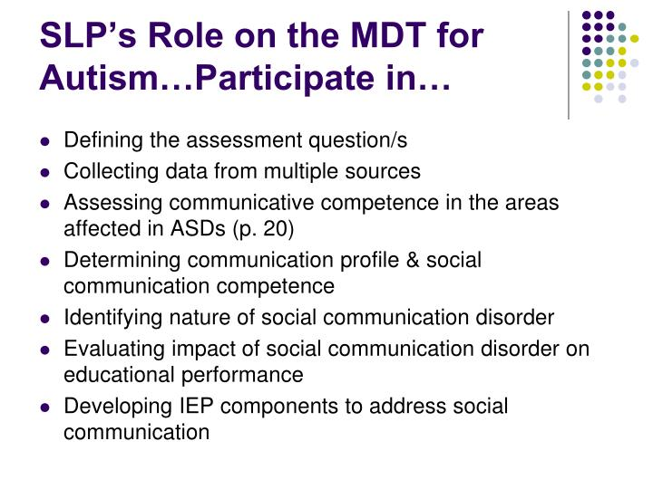 SLP's Role on the MDT for Autism…Participate in…