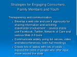 strategies for engaging consumers family members and youth