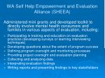 wa self help empowerment and evaluation alliance sheea