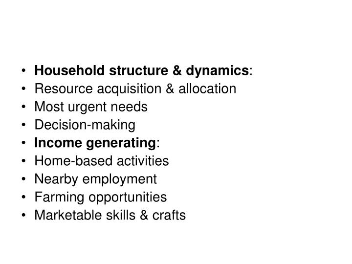 Household structure & dynamics